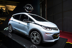 World premiere of Opel Ampera-e electric plug in car at Paris Motor Show 2016