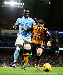 Bacary Sagna of Manchester City and Andrew Robertson of Hull City  - Mandatory byline: Matt McNulty/JMP - 01/12/2015 - Football - Etihad Stadium - Manchester, England - Manchester City v Hull City - Capital One Cup - Quarter-final