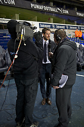 LONDON, ENGLAND - Wednesday, February 1, 2012: Former Liverpool and Tottenham Hotspur player Jamie Redknapp speaks to LFC.tv before the NextGen Series Quarter-Final match at White Hart Lane. (Pic by David Rawcliffe/Propaganda)