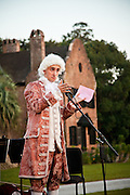 Historic re-enactor dressed as Wolfgang Amadeus Mozart at historic Middleton Place Plantation Charleston, SC.