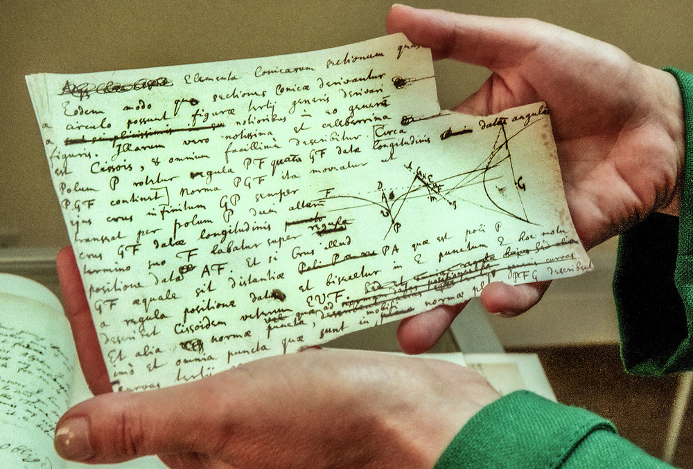 Sir Isaac Newton's papers, Sotheby's Bond Street, London, UK . The papers were offered by the Earl of Macclesfield for £6.4 million.