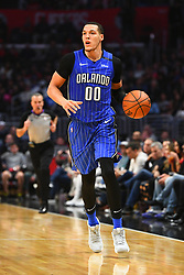 January 6, 2019 - Los Angeles, CA, U.S. - LOS ANGELES, CA - JANUARY 06: Orlando Magic Forward Aaron Gordon (00) brings the ball up the court during a NBA game between the Orlando Magic and the Los Angeles Clippers on January 6, 2019 at STAPLES Center in Los Angeles, CA. (Photo by Brian Rothmuller/Icon Sportswire) (Credit Image: © Brian Rothmuller/Icon SMI via ZUMA Press)