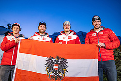 19.02.2021, Cortina, ITA, FIS Weltmeisterschaften Ski Alpin, Slalom, Herren, Teampräsentation, im Bild 19.02.2021, Cortina, ITA, FIS Weltmeisterschaften Ski Alpin, Slalom, Herren, Teampräsentation, im Bild // left to right: Adrian Pertl Marco Schwarz Manuel Feller Michael Matt during the team presentation of ÖSV for the mens slalom of FIS Alpine Ski World Championships 2021 in Cortina, Italy on 2021/02/19. EXPA Pictures © 2021, PhotoCredit: #AGENTUR#/ Johann Groder // left to right: Adrian Pertl Marco Schwarz Manuel Feller Michael Matt during the team presentation of ÖSV for the mens slalom of FIS Alpine Ski World Championships 2021 in Cortina, Italy on 2021/02/19. EXPA Pictures © 2021, PhotoCredit: EXPA/ Johann Groder<br /> <br /> *****ATTENTION - #RESTRICTION#*****