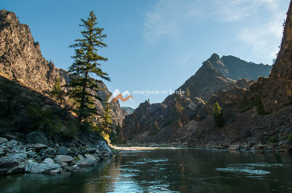 Beautiful morning landscape image in The Impassible Canyon on the Middle Fork of the Salmon River during six day rafting vacation, Idaho.
