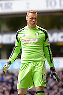 Fulham's goalkeeper David Stockdale looks on. Barclays premier league match ,Tottenham Hotspur v Fulham at White Hart Lane in Tottenham, London  on Saturday 19th April 2014.<br /> pic by John Patrick Fletcher, Andrew Orchard sports photography.