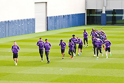 Manchester City players during the training session at The Etihad Campus ahead of the UEFA Champions League clash with FC Barcelona - Photo mandatory by-line: Matt McNulty/JMP - Mobile: 07966 386802 - 23/02/2015 - SPORT - Football - Manchester - Etihad Stadium