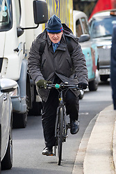 © Licensed to London News Pictures. 03/04/2019. London, UK. Boris Johnson MP cycling through Westminster. Yesterday evening British Prime Minister Theresa May made a statement in Downing Street offering to go into talks with Leader of the Labour Party Jeremy Corbyn, following the announcement of a request for an extension to article 50, thereby delaying Britain leaving the European Union. Photo credit : Tom Nicholson/LNP