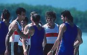 Banyoles, SPAIN, German Men's Quadruple Sculls. Gold Medalist  1992 Olympic Regatta, Lake Banyoles, Barcelona, SPAIN. GER M4X. Crew; left; Andre WILLMS and centre Stephan VOLKERT.   [Mandatory Credit: Peter Spurrier: Intersport Images]