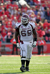 18 October 2008: Kevaughn Brown show his frustration after a 2nd straight offensive holding penalty is called against the Bears in a game which the Missouri State Bears came from behind to beat the Illinois State Redbirds 34-28 in front of 13,292 fans at Hancock Stadium on Illinois State Universities campus in Normal Illinois