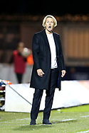 Martina Voss-Tecklenburg issues instructions from the side line during the 2019 FIFA Women's World Cup UEFA Qualifier match between Scotland Women and Switzerland at the Simple Digital Arena, St Mirren, Scotland on 30 August 2018.