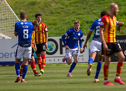 31JUL21 Queen of the South's Willie Gibson celebrates after scoring their first goal. Partick Thistle 3 v 2 Queen of the South. First Scottish Championship game of the season.