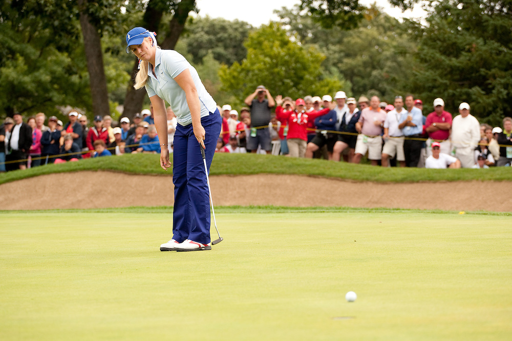 Brittany Lincicome. Friday morning four-ball matches, 2009 Solheim Cup Matches. Rich Harvest Farms Golf Club, Sugar Grove, Illinois, Friday, August 21 2009. Photograph © 2009 Darren Carroll