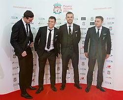 LIVERPOOL, ENGLAND - Thursday, May 12, 2016: Liverpool's goalkeeper Danny Ward, James Milner, captain Jordan Henderson and Connor Randall arrive on the red carpet for the Liverpool FC Players' Awards Dinner 2016 at the Liverpool Arena. (Pic by David Rawcliffe/Propaganda)