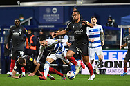 QPR Midfielder Ilias Chair(10) and Brentford Defender Henrik Dalsgaard(22) during the EFL Sky Bet Championship match between Queens Park Rangers and Brentford at the Kiyan Prince Foundation Stadium, London, England on 17 February 2021.