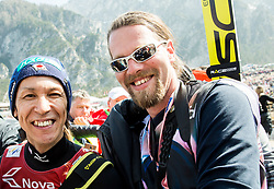 Noriaki Kasai of Japan with photographer Andrej Tarfila after the the Ski Flying Hill Men's Team Competition at Day 3 of FIS Ski Jumping World Cup Final 2017, on March 25, 2017 in Planica, Slovenia. Photo by Vid Ponikvar / Sportida