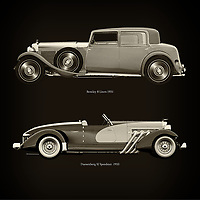 For the lover of old classic cars, this combination of a Bentley 8 Liters 1931 and Duesenberg SJ Speedster  1933 is truly a beautiful work to have in your home.<br /> The classic <br /> Bentley 8 Liters and the beautiful Duesenberg SJ Speedster are among the most beautiful cars ever built.<br /> You can have this work printed in various materials and without loss of quality in all formats.<br /> For the oldtimer enthusiast, the series by the artist Jan Keteleer is a dream come true. The artist has made a fine selection of the very finest cars which he has meticulously painted down to the smallest detail. –<br /> -<br /> <br /> BUY THIS PRINT AT<br /> <br /> FINE ART AMERICA<br /> ENGLISH<br /> https://janke.pixels.com/featured/bentley-8-liters-1931-and-duesenberg-sj-speedster-1933-jan-keteleer.html<br /> <br /> WADM / OH MY PRINTS<br /> DUTCH / FRENCH / GERMAN<br /> https://www.werkaandemuur.nl/nl/shopwerk/Bentley-8-Liters-1931-en-Duesenberg-SJ-Speedster-1933/753873/132?mediumId=1&size=60x60<br /> <br /> –
