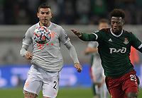 MOSCOW, RUSSIA - OCTOBER 27: Lucas Hernandez of FC Bayern Muenchen and Zé Luís of Lokomotiv Moskva during the UEFA Champions League Group A stage match between Lokomotiv Moskva and FC Bayern Muenchen at RZD Arena on October 27, 2020 in Moscow, Russia. (Photo by MB Media)