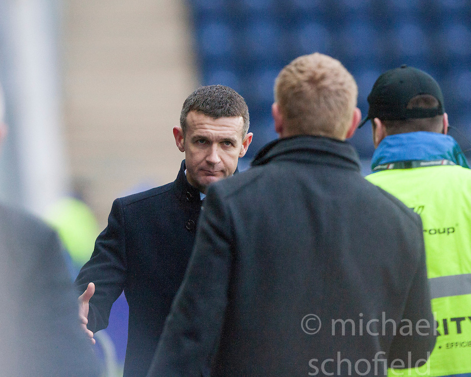 Queen of the South's manager Jim McIntyre and Falkirk's manager Gary Holt at the end.<br /> Falkirk 1 v 0 Queen of the South, Scottish Championship game today at the Falkirk Stadium.<br /> © Michael Schofield.