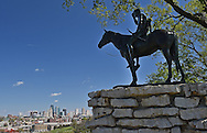 A view of the Indian Scout statue overlooking downtown Kansas City, Missouri