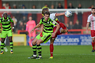 Forest Green Rovers Christian Doidge(9) and Stevenage Defender, Fraser Franks (5) challenge for the ball during the EFL Sky Bet League 2 match between Stevenage and Forest Green Rovers at the Lamex Stadium, Stevenage, England on 21 October 2017. Photo by Adam Rivers.