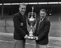 Billy Wright (left) and Johnny Hancocks (Wolverhampton Wanderers) with the League Division One Championship trophy for 1953 / 54 season Credit : Colorsport