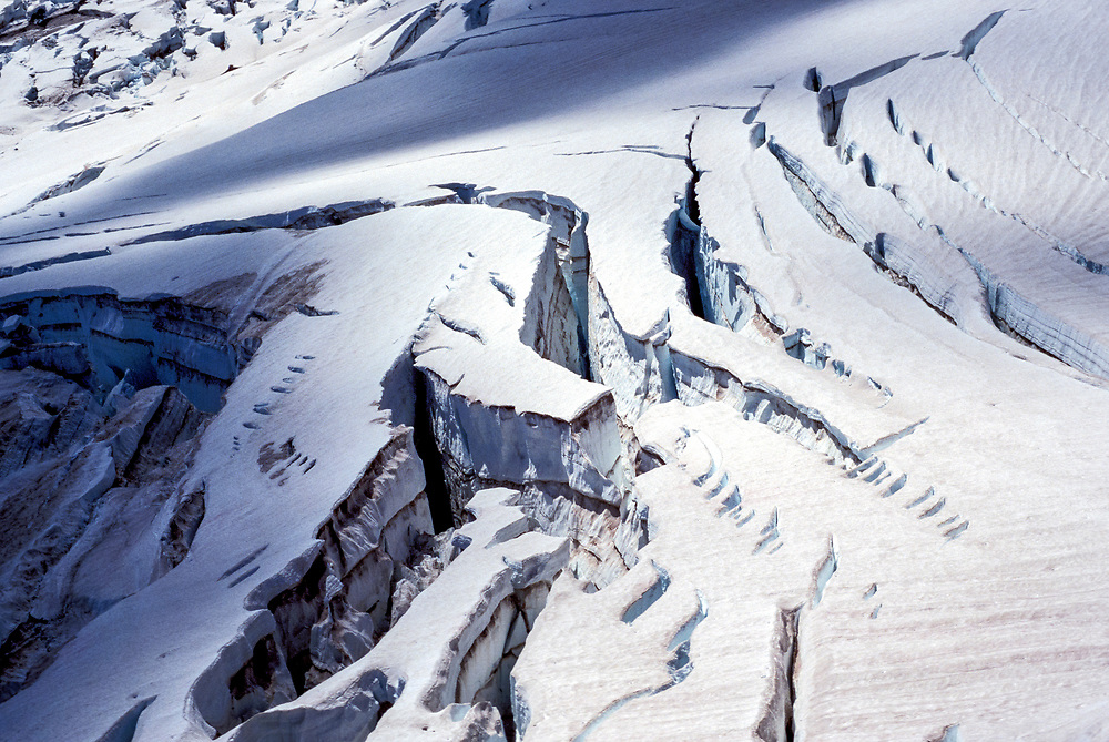 A detail shot of the Emmons Glacier on Mount Rainier in Mt Rainier National Park, Washington, USA.