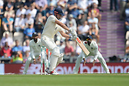 Alastair Cook of England playing a shot that sees him caught by Virat Kohli in the slips during the first day of the 4th SpecSavers International Test Match 2018 match between England and India at the Ageas Bowl, Southampton, United Kingdom on 30 August 2018.
