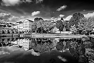 Just below the hillside community of Carrieres-sur-Seine, France is a reflecting pond.  Aspect Ratio 1w x 0.667h.