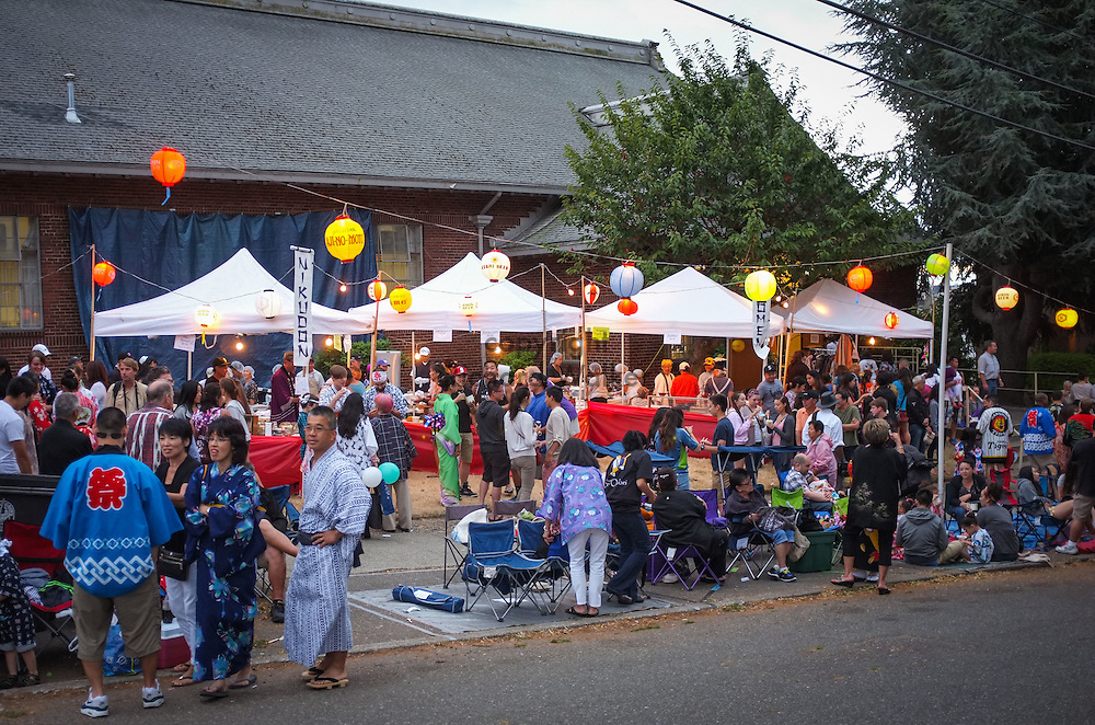 2014 July 19 - Food vendors and spectators at Obon at Seattle Betsuin Buddhist Temple, Seattle, WA. By Richard Walker