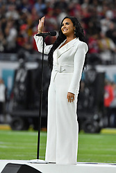 Demi Lovato performs the National Anthem onstage during Super Bowl LIV at Hard Rock Stadium on February 02, 2020 in Miami Gardens, Florida. Photo by Lionel Hahn/ABACAPRESS.COM