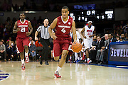 DALLAS, TX - NOVEMBER 25: Jabril Durham #4 of the Arkansas Razorbacks brings the ball up court against the SMU Mustangs on November 25, 2014 at Moody Coliseum in Dallas, Texas.  (Photo by Cooper Neill/Getty Images) *** Local Caption *** Jabril Durham