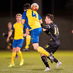 BRISBANE, AUSTRALIA - AUGUST 26: Jake Marshall of the Strikers and Alex Janovsky of Moreton Bay compete for the ball during the NPL Queensland Senior Men's Semi Final match between Brisbane Strikers and Moreton Bay Jets at Perry Park on August 26, 2017 in Brisbane, Australia. (Photo by Patrick Kearney)