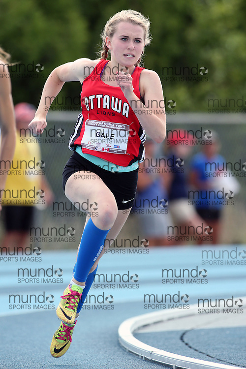 06 August 2016: Lauren Gale running in the youth girls (under-18) 200m heats at the Canadian National Youth Track and Field Championships in Sainte-Théresè / Blainville, Quebec.