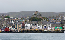 View of Lerwick town from harbour on Shetland , Scotland, UK