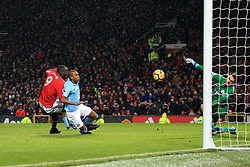 10 December 2017 -  Premier League - Manchester United v Manchester City - Manchester City goalkeeper Ederson saves from Romelu Lukaku of Manchester United - Photo: Marc Atkins/Offside