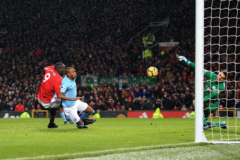 10 December 2017 -  Premier League - Manchester United v Manchester City - Manchester City goalkeeper Ederson saves from Romelu Lukaku of Manchester United - Photo: Marc Atkins/Offside