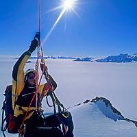 ANTARCTICA, Queen Maud Land. Michael  Graber (MR) jumars overhang on Rakekniven spire, Filchner Mts.