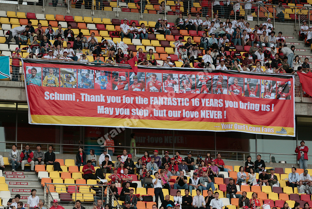 A banner for Michael Schumacher before the 2006 Chinese Grand Prix in Shhanghai. Photo: Grand Prix Photo