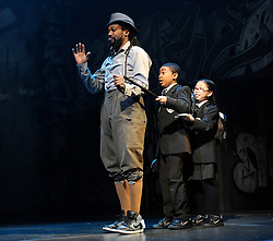 Into The Hoods<br /> an urban fairytale at The Novello Theatre, London, Great Britain<br /> press photocall<br /> 25th March 2008<br /> <br /> Frank Wilson (as Landlord) ; Russell Royer (as Boy) ; Alicia Lai (as Girl)<br /> <br /> <br /> Photograph by Elliott Franks