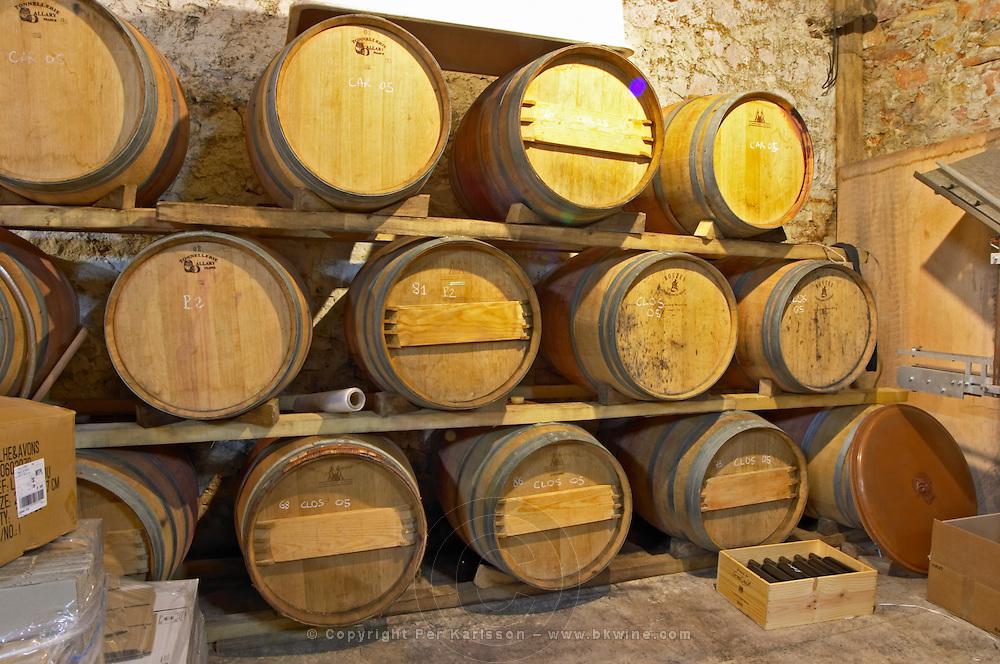 Domaine des Grecaux in St Jean de Fos. Montpeyroux. Languedoc. Barrel cellar. France. Europe.