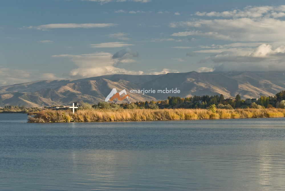 Idaho, Cassia County, Burley.  The Snake river with the Cotterel mountains beyond.