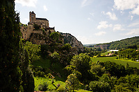 France, Saint-Cirq-Lapopie. On a steep cliff 100 m above the river Lot.