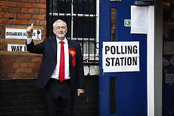 June 8, 2017 - London, London, UK - London, UK. Labour leader JEREMY CORBYN votes at the general election in Finsbury Park, north London on 8 June 2017. (Credit Image: © Tolga Akmen/London News Pictures via ZUMA Wire)
