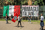 Il corteo organizzato dal movimento di estrema destra, Casapound Italia, sfila per le vie della capitale, Roma 21 Maggio 2016. Christian Mantuano / OneShot