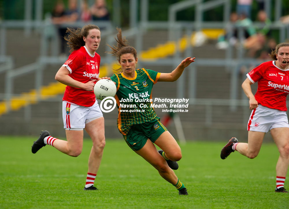 10-07-21. Meath v Cork - LGFA All-Ireland Senior Championship - Group 3 Round 1 at St. Brendan's Park, Birr.<br /> Emma Troy, Meath in action against Cork.<br /> Photo: John Quirke / www.quirke.ie<br /> ©John Quirke Photography, 16 Proudstown Road, Navan. Co. Meath. (info@quirke.ie / 046-9028461 / 087-2579454).