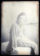 western woman in kimono dress posing France ca 1920s