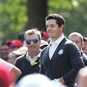 Ryder Cup 2016. Rory McIlory of Europe on the sixth hole during practice day at the Hazeltine National Golf Club on September 29, 2016 in Chaska, Minnesota.  (Photo by Tim Clayton/Corbis via Getty Images)