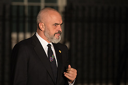 London, UK. 3 December, 2019. Edi Rama, Prime Minister of Albania, leaves following a reception for NATO leaders at 10 Downing Street on the eve of the military alliance's 70th anniversary summit at a luxury hotel near Watford.