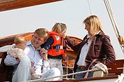 Queen Beratrix, Willem Alexander ,Maxima,  Amalia and Alexia are sailing for the first time this year from Muiden with there sailboat The Groene Dreack (The Green Dragon) .<br /> <br /> Koningin Beatrix, Willem Alexander, Maxima , Amalkia en Alexia gaan voor het eerst dit jaar zeilen met de Groene Dreack vanuit Muiden.