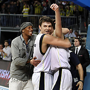 Fenerbahce Ulker's Mirsad TURKCAN (C) celebrate victory during their Euroleague Basketball Top 16 Game 2 match Fenerbahce Ulker between Power Electronics Valencia at Sinan Erdem Arena in Istanbul, Turkey, Thursday, January 27, 2011. Photo by TURKPIX